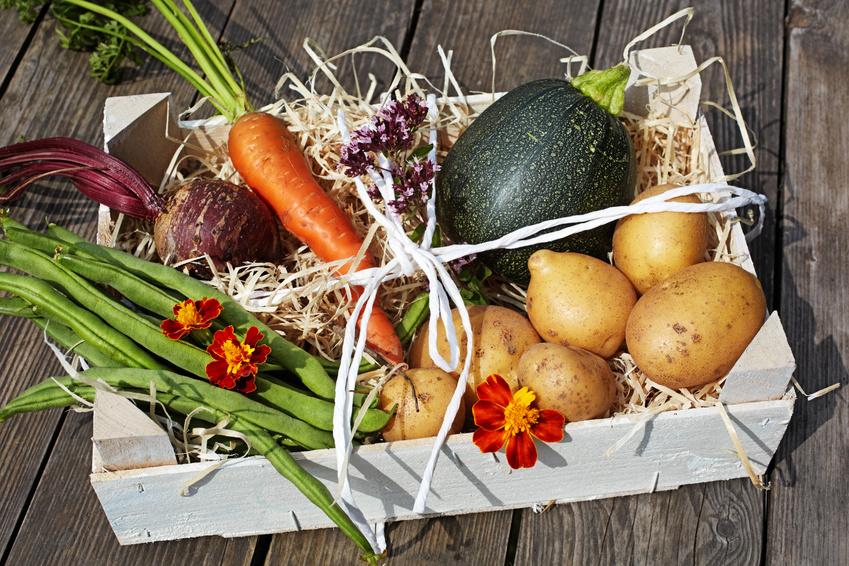 Świerze warzywa w skrzynce